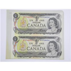 Uncut Sheet Bank of CANADA One Dollar Notes. 1973