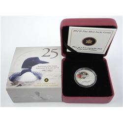 25th Anniversary of the Loonie 1987-2012 9.9 Fine Silver Lucky Loonie.