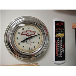 Chevy clock and thermometer