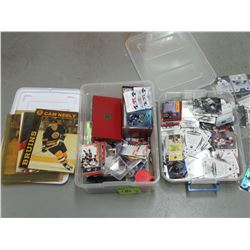2 small boxes of mixed hockey cards & more