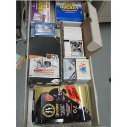 Full drawer of 1990s Hockey & other sports Cards