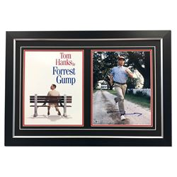 Tom Hanks Autographed Forest Gump Movie Bench & Run 30x21 Frame - Beckett COA (AJ SPORTS)