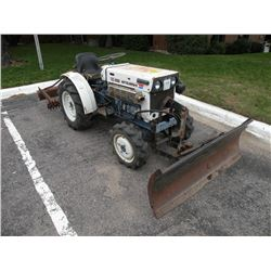 Mitsubishi Model SATOH 4WD compact tractor w/front pushblade & leveling bar, diesel