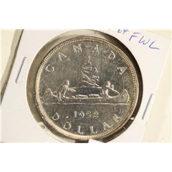 1952 CANADA SILVER DOLLAR WITH FULL WATER LINES BU
