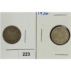1901 & 1936 CANADA SILVER 10 CENTS