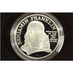 US MINT BEN FRANKLIN FIREFIGHTER SILVER PROOF