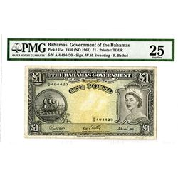 Bahamas Government, 1936 (ND 1961) Issued Banknote.