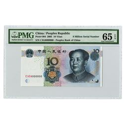 Peoples Bank of China, 2005, Issued Fancy Serial 8 Million Note