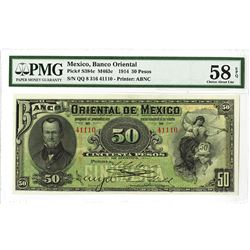 Banco Oriental de Mexico, 1914 Issued Banknote.