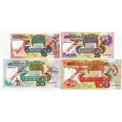 Central Bank of Seychelles, ND (1989) Specimen Banknote Quartet.