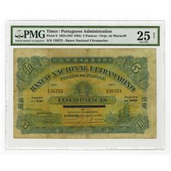 Banco Nacional Ultramarino, Timor, 1924 (ND 1933) Issued Banknote.