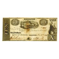 Bank of Florida, 1843 Obsolete Banknote.