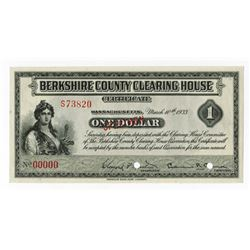 Berkshire County Clearing House Certificate, 1933 $1 Specimen Depression Scrip Note.