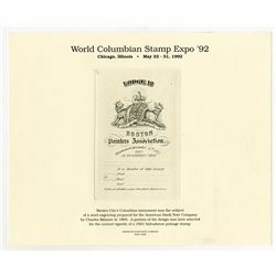 World Columbian Stamp Expo, ABN Error (Or Intentional) Printed Souvenir Card for 1992 Expo.