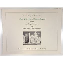 """ASDA """"Man of the Year Banquet"""" 1993 Souvenir Folder with Intaglio Vignettes and U.N. Stamps."""
