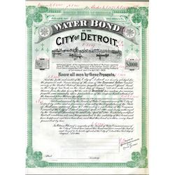 Water Bond of the City of Detroit., 1908 Specimen Bond Used as a Reference Model.
