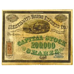 Merchants Union Express Co., 1867 Issued Stock Certificate