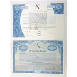"""X"" Prize and Broadband.com Specimen Stock Certificates, 1998-2002"