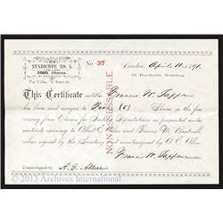 Claims for Indian Depredations, 1891 Issued Stock Certificate
