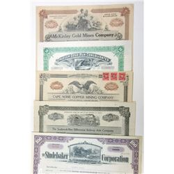 Mining and Railroad Stock Certificate Assortment, ca.1915-1954