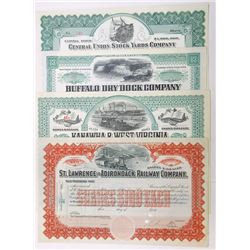 Railroad & Related Stock Certificate Assortment, ca.1850-1900