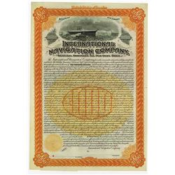 International Navigation Co., 1895 Specimen Bond, Predecessor Company to International Mercantile Ma