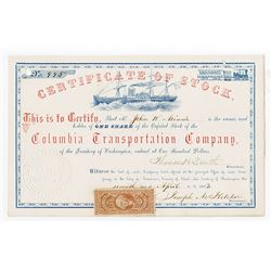 Columbia Transportation Co., 1863 I/U Stock Certificate.