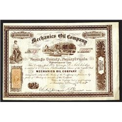 Mechanics Oil Company, 1865 Stock Certificate.