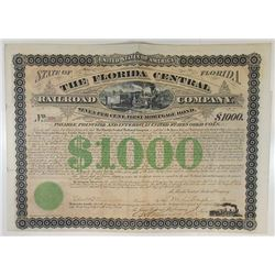 Florida Central Railroad Co., 1877 Issued Bond