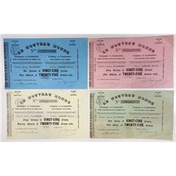 Le Noveau Monde, Lot of 4 Shares, 1850-52 Issued Certificates.