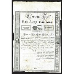 Mexican Gulf Rail-Way Co. 1840 Issued Bond.