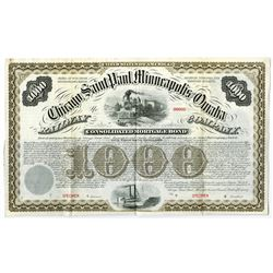 Chicago, Saint Paul, Minneapolis, Omaha Railway Co., 1880 Specimen Bond
