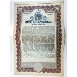 City of Natchez, 1919 Specimen Bond