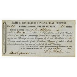 Bath & Prattsburgh Plank-Road Co., 1852 Issued Stock Certificate