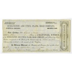 Burlington and Utica Plank Road Co., 1850 Issued Stock Certificate