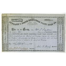 Newtown & North Hempstead Plank Road Co. 1854 Issued Stock Certificate
