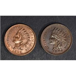 1904 & 1907 INDIAN CENTS CH BU