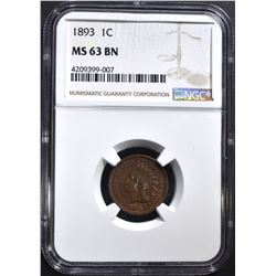 1893 INDIAN CENT, NGC MS-63 BN a little red shows