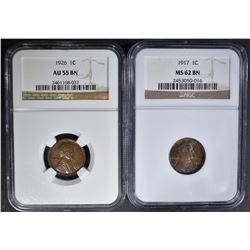 NGC GRADED CENTS: 1917 MS-62 BN & 26 AU-55 BN