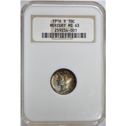 "1916-S MERCURY DIME, NGC MS-63 ""OLD FATTY HOLDER"""