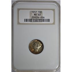 "1917 MERCURY DIME, NGC MS-63 ""OLD FATTY HOLDER"""