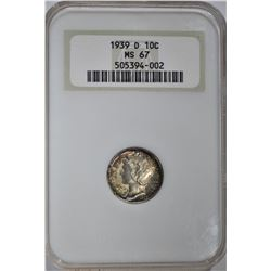 "1939-D MERCURY DIME, NGC MS-67 ""OLD FATTY HOLDER"""