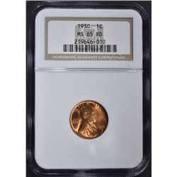 1930 LINCOLN CENT NGC MS-65 RD