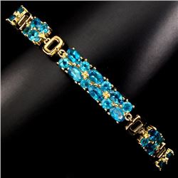 Magnificent Oval & Round AAA Neon Blue Apatite Bracelet