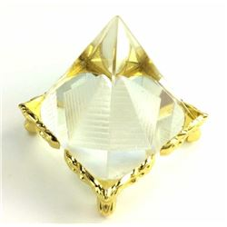 Quartz Crystal Double Pyramid On Gold Plated Stand