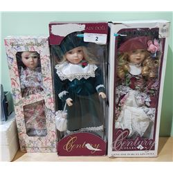 3 COLLECTIBLE DOLLS IN BOXES
