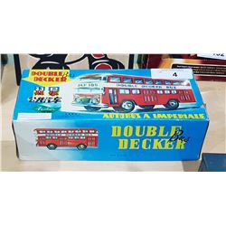 TIN FRICTION TOY DOUBLE DECKER BUS IN BOX