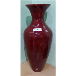UNIQUE WOOD VASE W/LACQUER FINISH