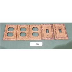 5 CAST IRON LIGHT SWITCH & OUTLET WALL PLATE COVERS