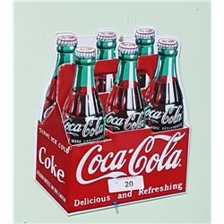 COCA COLA 6 PACK SIGN EMBOSSED